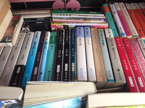 A whole rack of Japanese books. Outside a tourist gift shop. In Chiangmai, Thailand. It still strikes me as funny. :)